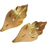 SALE Vintage 14k Gold Leaf Earrings Post Style