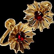 Vintage Gold tone Red Rhinestone Star Burst Earrings Screw back Style