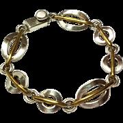 """SALE Vintage Sterling Silver Brass Link Bracelet 925   8 1/2"""" long"""
