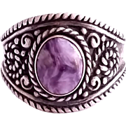 SALE PENDING Stunning Vingage Sterling Silver Ring with Purple Stone Cabochon Size 10 1/4
