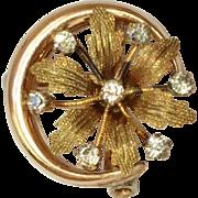 SALE Vintage Gold Tone Crescent Flower Pin