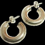 SALE Textured Sterling Silver Hoop Earrings 925