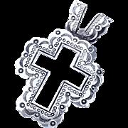 SALE Large Sterling Silver Cross Pendant Navajo Southwestern Detail 10.0g