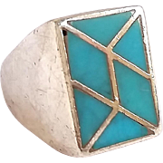 SALE Vintage Sterling Silver Native American Inlay Turquoise Ring Sz 10 1/4