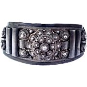 SALE Large Antique .950 Silver Cuff Bracelet 32g L.M.L. ARG950