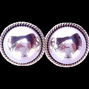 SALE Laton Taxco Sterling Silver Domed Earrings Modernist Earring Set Mexico .925