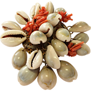 SALE Vintage Shell and Branch Coral Pin / Brooch