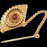 SALE Vintage Victorian Fan Pin/ brooch red rhinestone