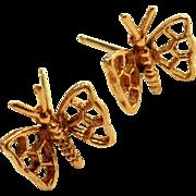 Vintage 14k Gold Butterfly Earrings pierced post Style
