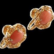 SALE Vintage Salmon Coral 1/20 12k Gold Filled Screwback Earrings