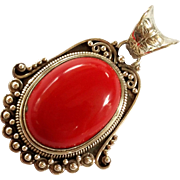 SALE Beautiful Red Stone Sterling Silver Pendant 925