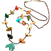 SALE Vintage Bear Fetish Necklace Shell beads Turquoise Quartz Agate