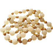 "SALE 32"" Long Estate Light Green Jade Bead Necklace 11mm 95.7g Stunning"