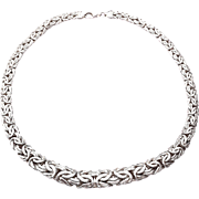 """Stunning 16"""" Sterling Silver Graduated Flat Byzantine Chain Necklace 22.9g"""