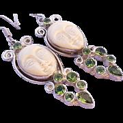 Estate 925 sterling Silver & Carved Bone face jewel dangle earrings
