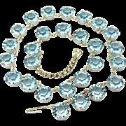 Vintage Faceted Blue Glass Bezel set Necklace