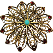 Vintage Silver Filigree Star / Flower Pin with Faux Garnet and Turquoise Stones