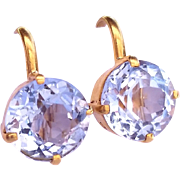 SALE Antique 5.5 Carats Aquamarine and 18kt Yellow Gold Screwback Earrings