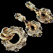 Trifari Claire de Lune Pin / Fur Clip Earrings Set- Vintage 1950 - Book Piece Blue