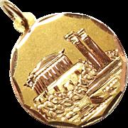 14K Yellow Gold Medal Pendant Reversal-able Greece Scene / Spiral Design