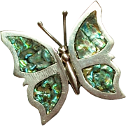 SALE Vintage Sterling Silver Abalone Shell Butterfly Pin Marked ECF