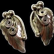 SALE Vintage Sterling Silver Leaf Earrings Signed B