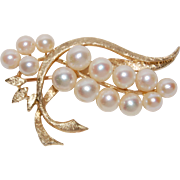 SALE Beautiful 14K Gold Vintage Spray Pin with 15 Cultured Pearls