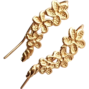 SALE 14k Yellow Gold Flower Design Hook Earrings
