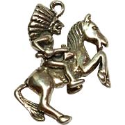 Vintage Indian Chief and Horse Sterling Silver Charm / Pendant