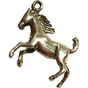 Awesome Vintage Sterling Silver Horse Charm / Pendant 925 Equistrian
