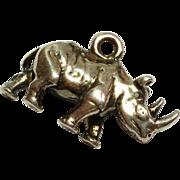Unique Vintage Sterling Silver Rhino / Rhinoceros Charm / Pendant 925