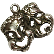 Vintage Comedy and Tragedy  Sterling Silver Charm / Pendant 925