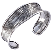 Heavy textured modernist sterling silver cuff bracelet