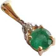 Small Vintage 14k Gold Emerald Pendant