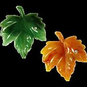 Vintage Avon Plastic Maple Leaf Pin / Pins Green Orange