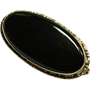Vintage Sterling Silver Black Onyx Pin Signed Germany