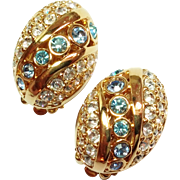 Lovely Vintage Swarovski Earrings Blue and Ice clear Crystals Gold Tone Clip Style