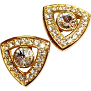 Bling Bling Large Gold Tone Paste Set Crystal Earrings Clip Style