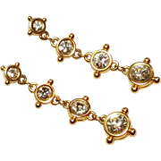 Vintage Swarovski Earrings Ice clear Crystals Gold Tone Dangle Pierced Style