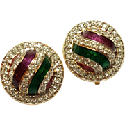 SALE Colorful Swarovski crystal enamel earrings Round Shaped clip style