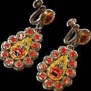 Vintage Micro Mosaic Earrings Screw Back style