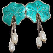 Lovely! 925S Green Iridescent Enamel Leaf Earrings w/ Freshwater Pearl Dangles