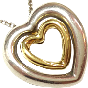 SALE 750 18K Gold and Sterling Silver Double Heart Pendant  Necklace