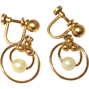 Vintage Loran Sim Co Gold Filled Cultured Pearl Earrings Screw back style