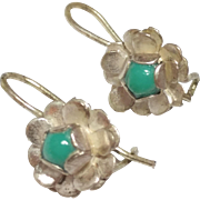 Sterling Silver Flower Earrings with Faux Turquoise Stone