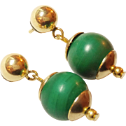 Gold Filled Malachite Earrings Post style