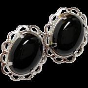 Vintage Sterling Silver Earrings Black Onyx cabochons Screwback style