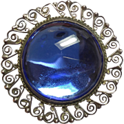Round Sterling Silver Blue glass cabochon Pin / Brooch 925 Mexico