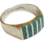 SOLD Vintage Taxco Sterling Silver  Turquoise Chip Ring 925  Size 9