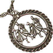 REDUCED Vintage Dancer Pendant Necklace Silver Toned